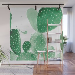 Green Paddle Cactus Wall Mural