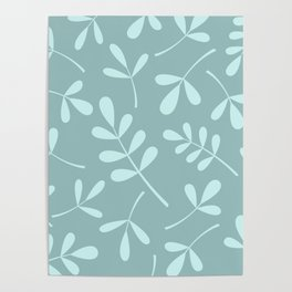Assorted Leaf Silhouettes Teals Poster