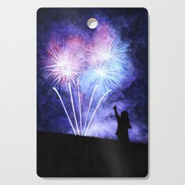Blue and pink fireworks Cutting Board