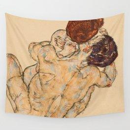 """Egon Schiele """"Mann und Frau, Umarmung"""" Wall Tapestry"""