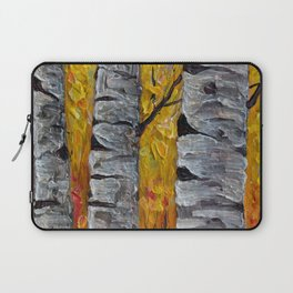 Impressionistic Colorado Aspen Trees Vertical Panorama -1  Laptop Sleeve