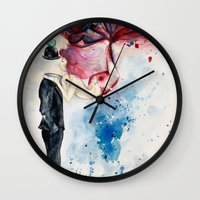 magritte Wall Clocks featuring Magritte, Apple & Mermaid by Claudia Feher