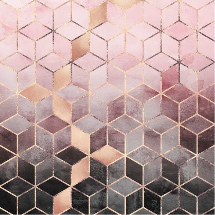 Pink And Grey Gradient Cubes Duvet Cover By
