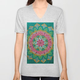 Pink Flower Mandala Unisex V-Neck