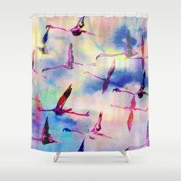 Flamingos In Flight Shower Curtain