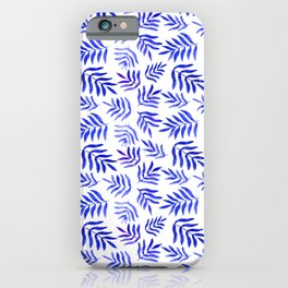 Watercolor branches pattern - blue iPhone Case