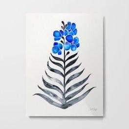 Blooming Orchid – Blue & Black Palette Metal Print