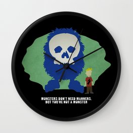 Monsters Don't Need Manners Wall Clock
