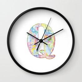 Letter Q - Watercolor Monogram - Colorful Lettering - Watercolor Letter Print - Watercolor Initial Wall Clock