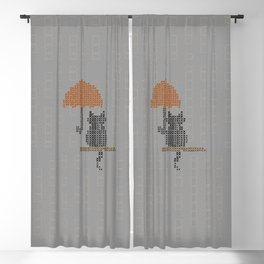 All Stitched Funny Cat Umbrella Blackout Curtain