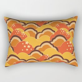 Retro 70s Inspired Boho Clouds Oranges Yellow Browns Rectangular Pillow