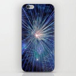 Blue New Year Fireworks iPhone Skin