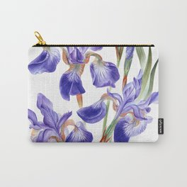 Watercolor hand painted Irises sibirica Carry-All Pouch