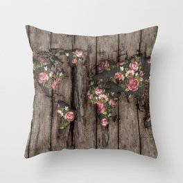 Wood Flowers Mapamundi Throw Pillow