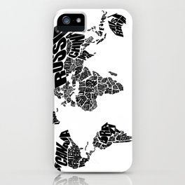 World Word Map - Black and White iPhone Case