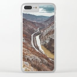 Beautiful picture of the canyon in Serbia, with river and the highway in the middle Clear iPhone Case