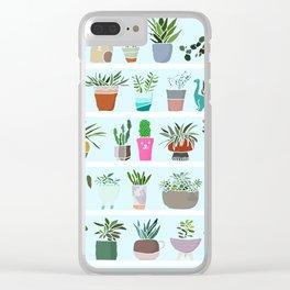 Succulent and Cactus shelfie Clear iPhone Case