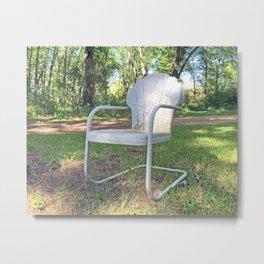 Vintage Chair by the Road Metal Print