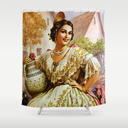 Mexican Calendar Girl in Embroidered Dress by Jesus Helguera Shower Curtain