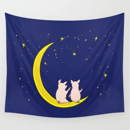 happy pair of pigs in love on the moon Wall Tapestry