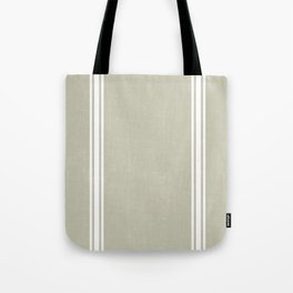 Vintage Country French Grainsack White Stripes Against Linen Color Background Tote Bag