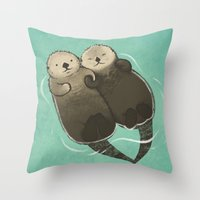 otters Throw Pillows featuring Significant Otters - Otters Holding Hands by StudioMarimo