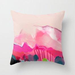 pink mountain Throw Pillow
