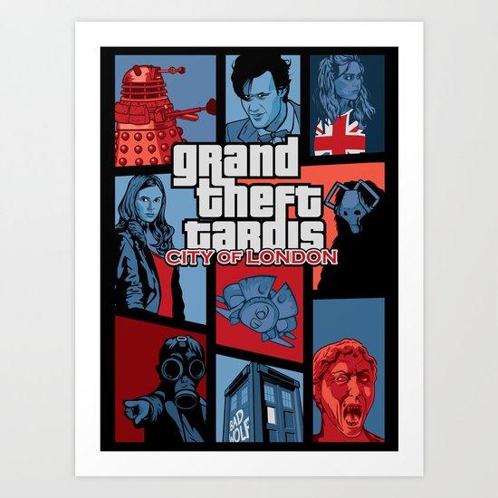 Grand Theft Tardis - City of London Art Print