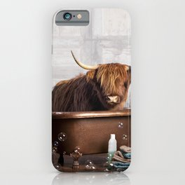 Highland Cow in the Tub iPhone Case