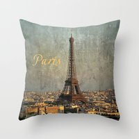 fitzgerald Throw Pillows featuring I love Paris by inourgardentoo