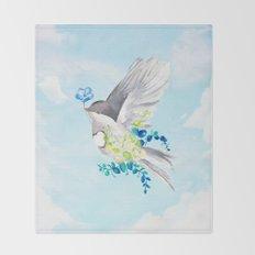 Little Bird Carries Blue Flower Throw Blanket