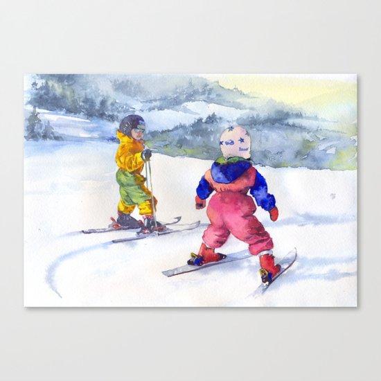 Watercolor skiing, skiers kids Canvas Print