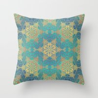 henna Throw Pillows featuring Blue Henna by Truly Juel
