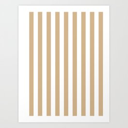Narrow Vertical Stripes - White and Tan Brown Art Print