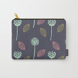 Hand drawn Floral leaves illustration pattern design dark blue Carry-All Pouch