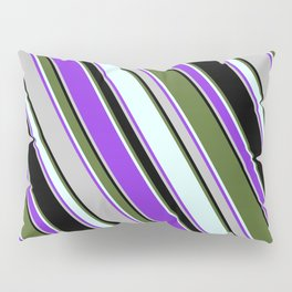 Colorful Dark Olive Green, Light Cyan, Purple, Grey, and Black Colored Lined/Striped Pattern Pillow Sham