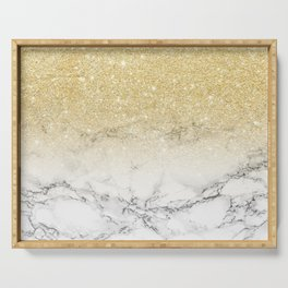 Modern faux gold glitter white marble color block Serving Tray
