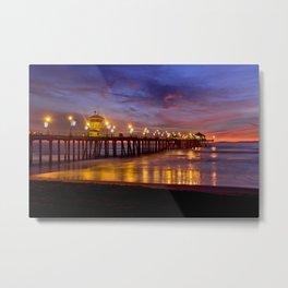 HB Sunsets  ~ Sunset At The Huntington Beach Pier  12/8/15 Metal Print