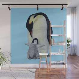 Penguin Mother and Chick Wall Mural