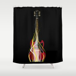 Burning Solid Electric Guitar Shower Curtain