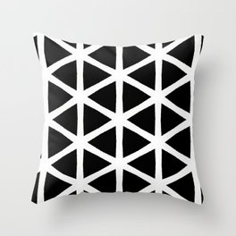 Modern Bold Black and White Triangle Pattern Throw Pillow