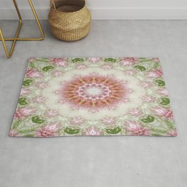 Pink Chrysanthemums Kaleidoscope Art 3 Rug