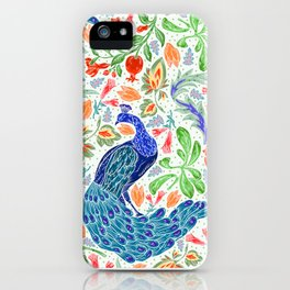 Asian Floral Pattern With Elegant, Lucky Peacocks iPhone Case