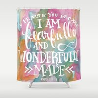 scripture Shower Curtains featuring Fearfully and Wonderfully Made - Watercolor Scripture by Misty Diller by Misty Diller of Misty Michelle Design