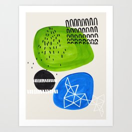 Mid Century Modern abstract Minimalist Fun Colorful Shapes Patterns Lime Green Phthalo Blue Bubbles Art Print