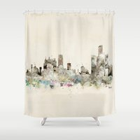 michigan Shower Curtains featuring Detroit Michigan skyline by bri.buckley