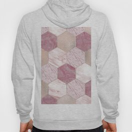 Carnation pink rose gold foil - marble hexagons Hoody