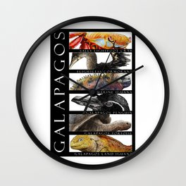 Animals of the Galapagos Wall Clock