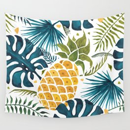Golden pineapple on palm leaves foliage Wall Tapestry