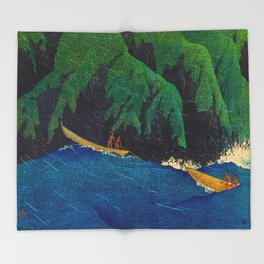 Kawase Hasui Vintage Japanese Woodblock Print Beautiful Green Cliffs Raging Blue Waters With Fisherm Throw Blanket